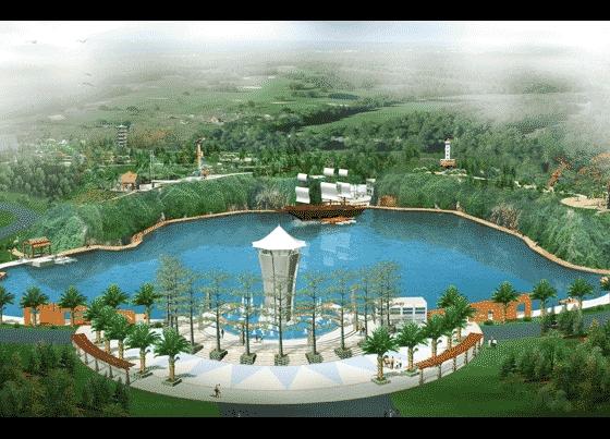 图纸 园林设计图 园林景观效果图 园林景观鸟瞰图 某生态公园景观鸟瞰