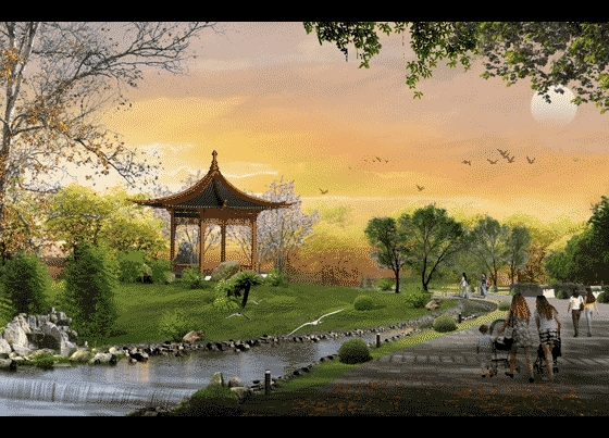 园林景观效果图 园林景观立面效果图 公园局部景观效果图  上传时间