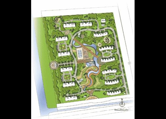 青岛某居住小区园林景观绿化规划总平面图 某大型生态景观广场绿化