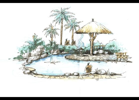 展馆设计手绘图广场设计手绘图花坛设计手绘图茶楼