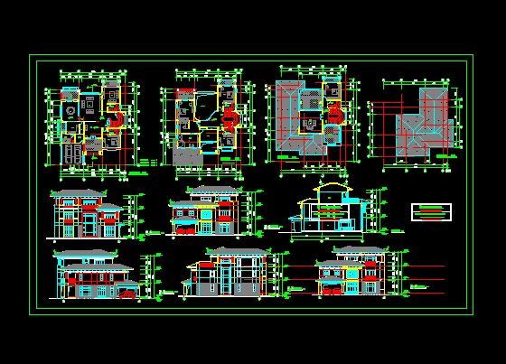 图纸 建筑图纸 别墅图纸 别墅设计图 别墅平立剖面图  上传时间:2006