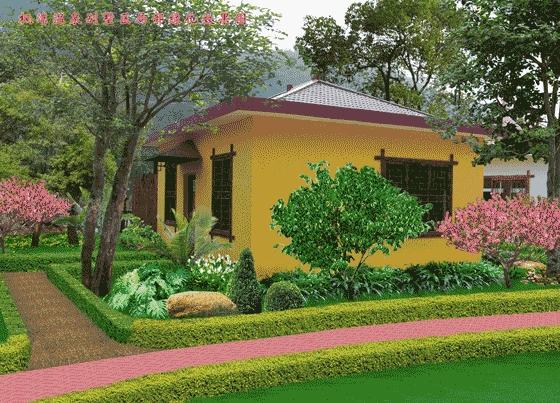 别墅庭院绿化设计效果图 别墅绿化效果图大全 欧式别墅绿化效果图