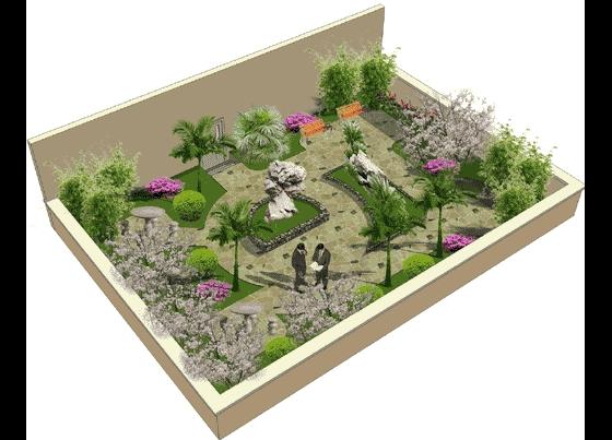 某屋顶花园效果平面图高清图片
