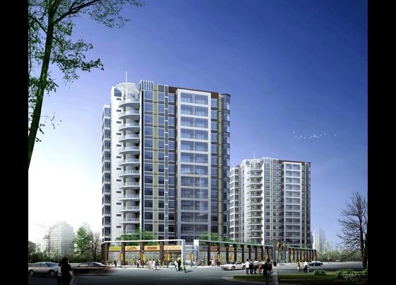 高层住宅沿街透视图   高层住宅沿街透视图   住宅单体效果高清图片