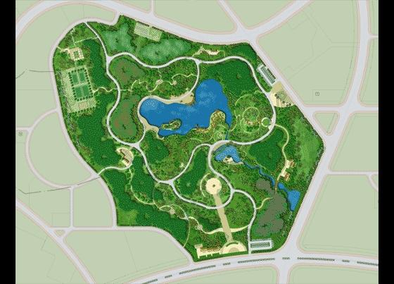 园林景观平面效果图(平面效果图)  某森林公园绿化规划平面图    某
