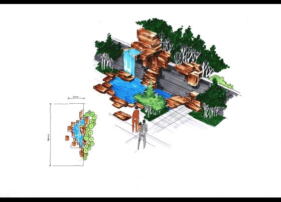 图纸 园林设计图 园林景观效果图 园林景观手绘图 跌瀑水景手绘效果图
