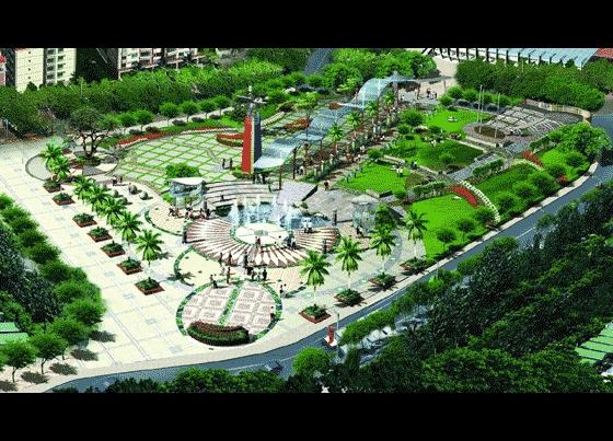 某广场园林景观鸟瞰图