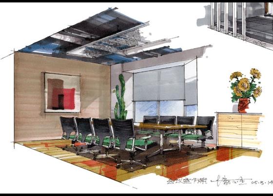 办公空间手绘效果图,餐饮空间手绘效果图,公共空间手绘效果图_商业
