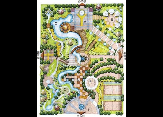 园林景观手绘平面图校园景观手绘平面图手绘景观