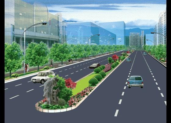 图纸 园林设计图 园林景观效果图 园林景观立面效果图 街道绿化效果图