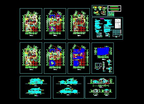 图纸 建筑图纸 别墅图纸 别墅设计图 两层独立豪华别墅施工图d型