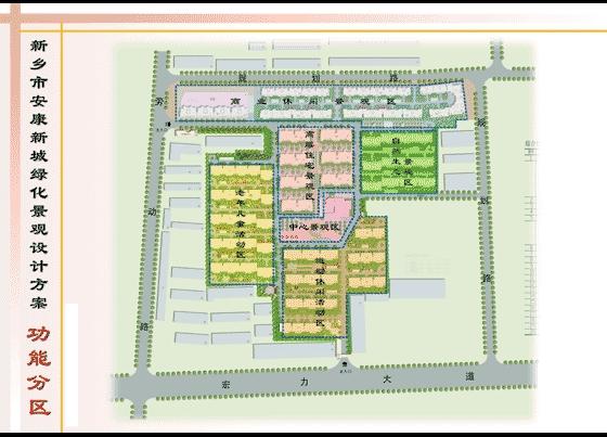 简介:某小区绿化景观设计方案文本:功能分区图