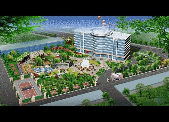 办公楼广场景观设计鸟瞰图