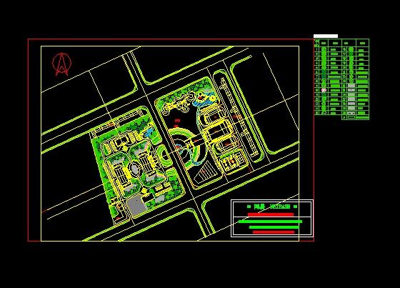 简介:某机关单位绿化景观设计平面图及植物配置表