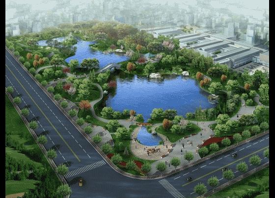 图纸 园林设计图 园林景观效果图 园林景观鸟瞰图 厂区园林景点设计