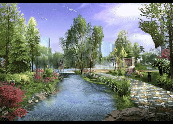 住宅区景观设计手绘透视图