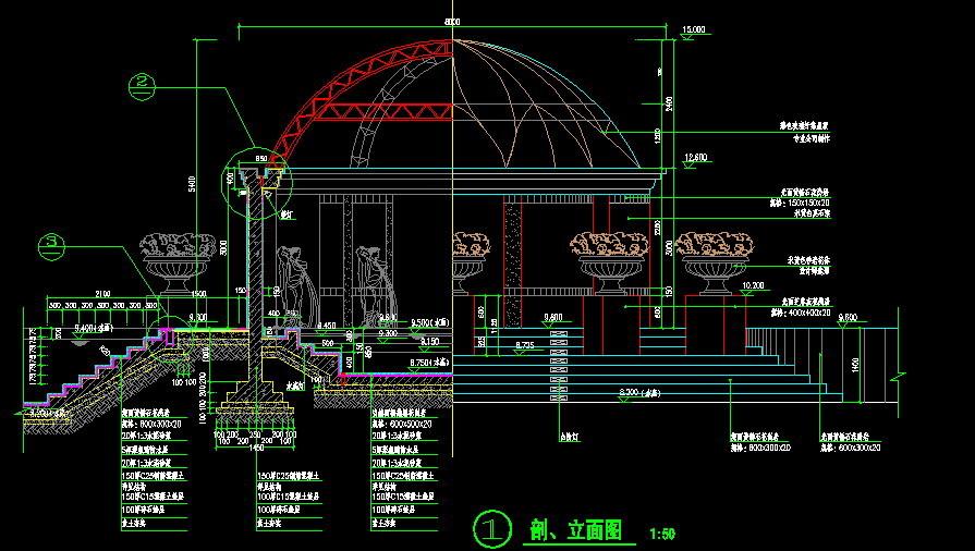 小品及配套设施(小区cad平面图下载)