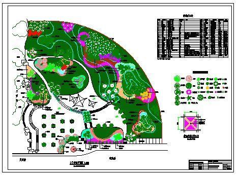 小游园规划总平面图(含植物绿化) 成都某街头游园的喷灌系统设计图纸