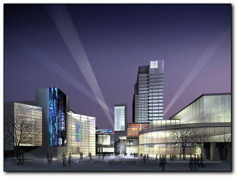 商业建筑效果图 多层商业建筑效果图 商业效果图 仿古商业效果图 商业