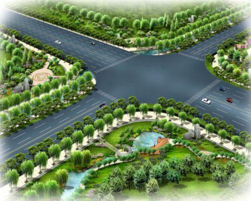 一组道路景观效果图