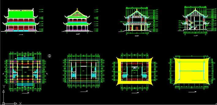 收藏此图纸 简介:很全的一套图纸,包括平面,立面,剖面,及屋顶设计.