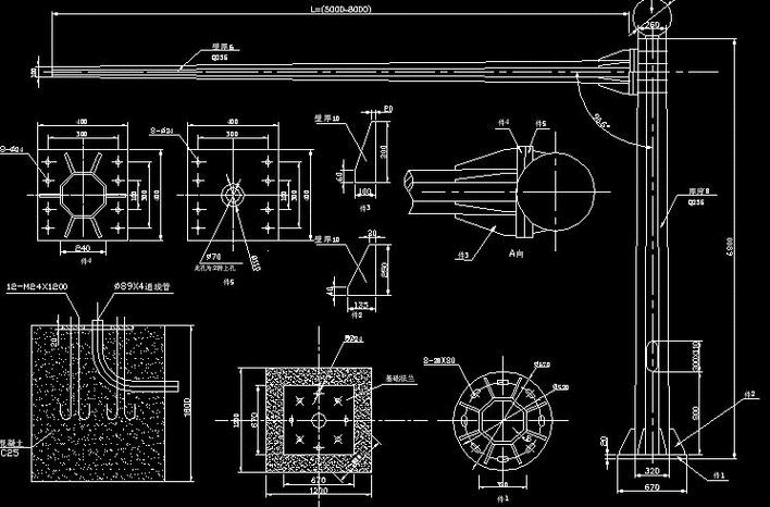 美标灯杆CAD图_cad图纸打印cadpdf的下载图片