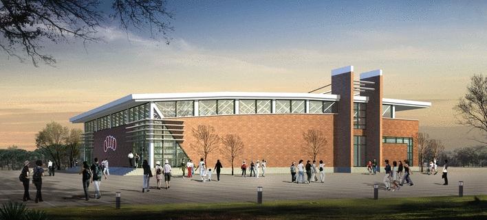 学校风雨操场施工图和效果图高清图片
