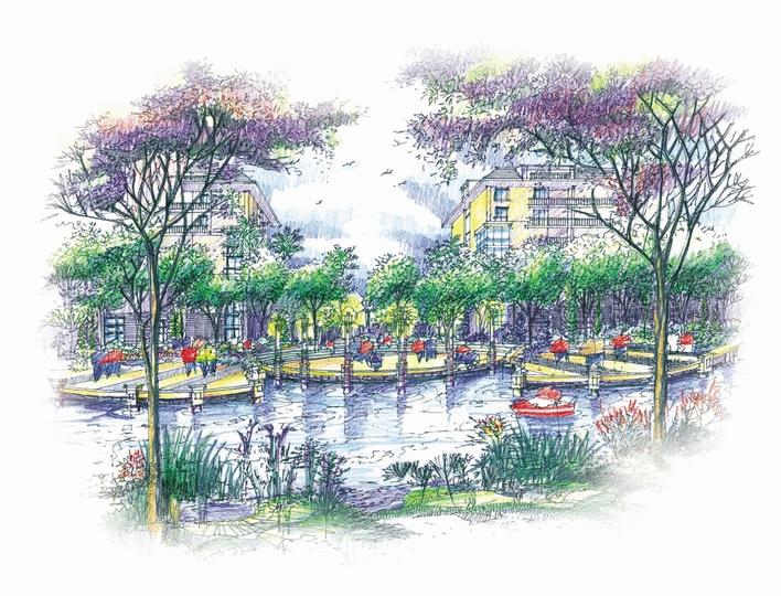 图纸 园林设计图  效果图             手绘的水景,环境不错的