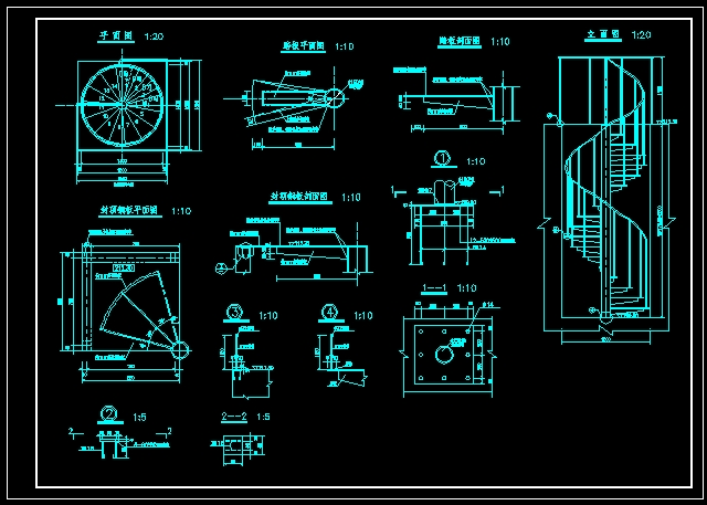 图纸 建筑结构图 有中柱钢旋转楼梯  (14人评价)|                | 1
