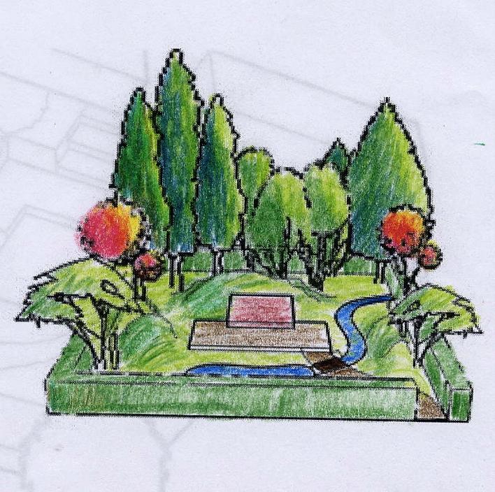 一组墓园局部景观手绘图