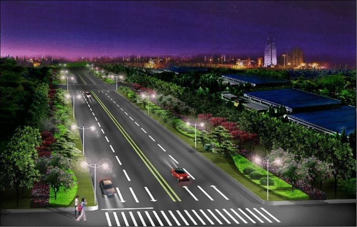 道路及高速公路绿化设计图(道路绿化设计)  道路夜景效果图   这个就