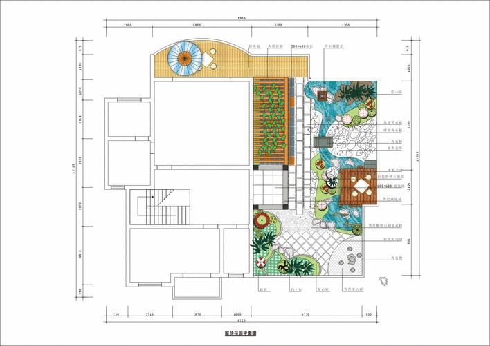 屋顶花园手绘平面图; 屋顶花园设计; 屋顶花园平面图片