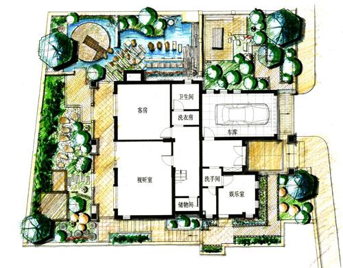 庭院手绘平面图建筑设计手绘方案私家庭院景观设计