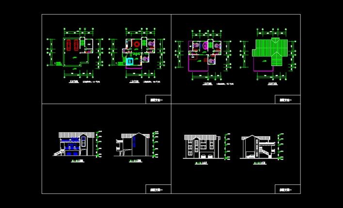 架空平�_架空三层小别墅方案,跃式,平立面图