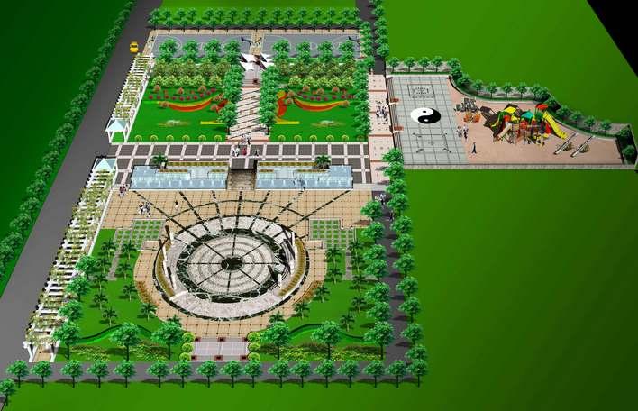 广场设计效果图 小区广场设计效果图