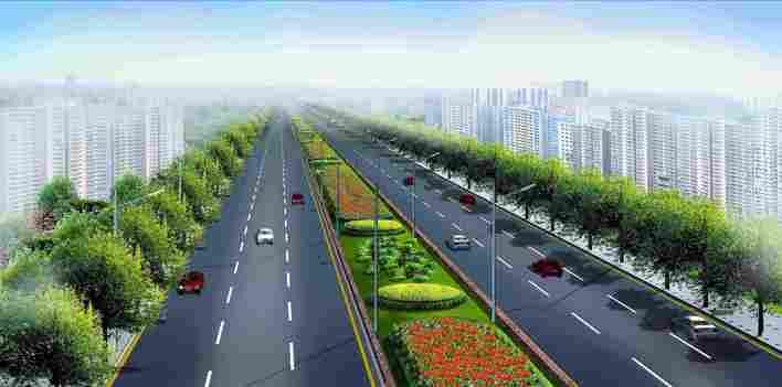 经典的道路全套规划设计图,含道路绿化设计,隔离带设计,4个大转盘设计