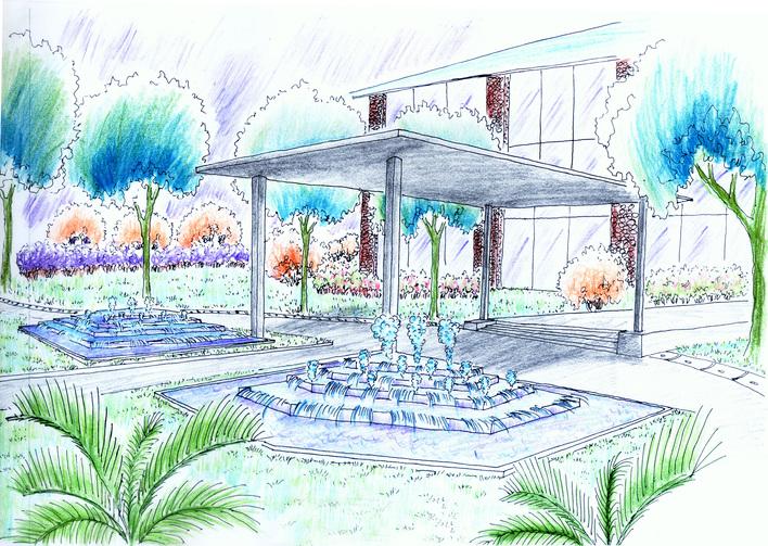 图纸 园林设计图 建筑入口景观示意  上传时间:2006-12-04 所属分类