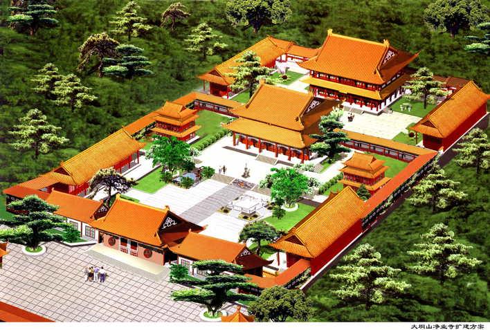 纯手绘寺庙平面图