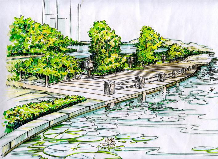 园林景观小品手绘图 公园景观设计手绘图