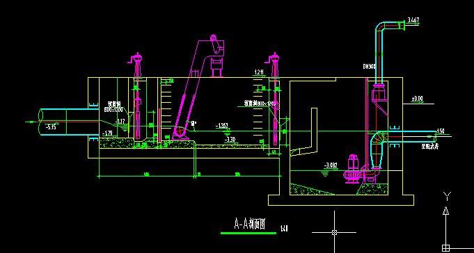 格栅与泵站剖面图2_cad图纸下载-土木在线