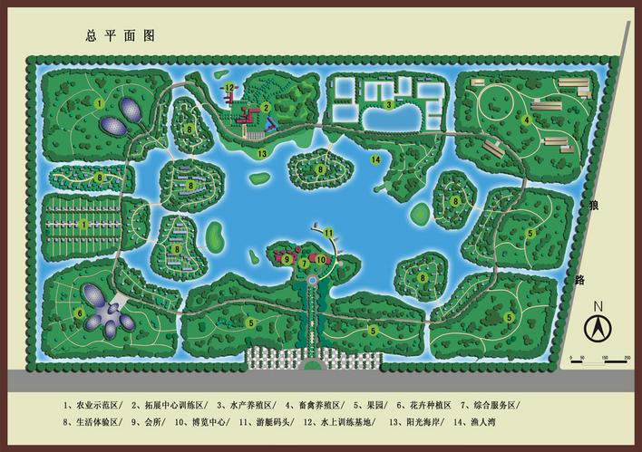 生态园的总平面图和鸟瞰图图片