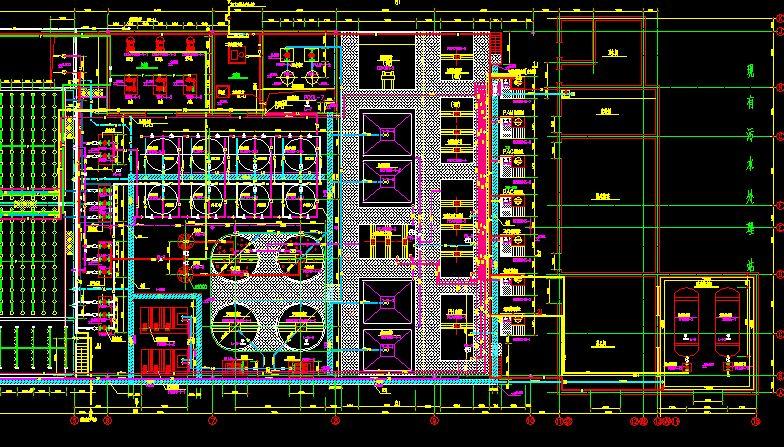 某汽车生产厂污水处理站工艺设计图(cass工艺) 武汉市某著名大型汽车