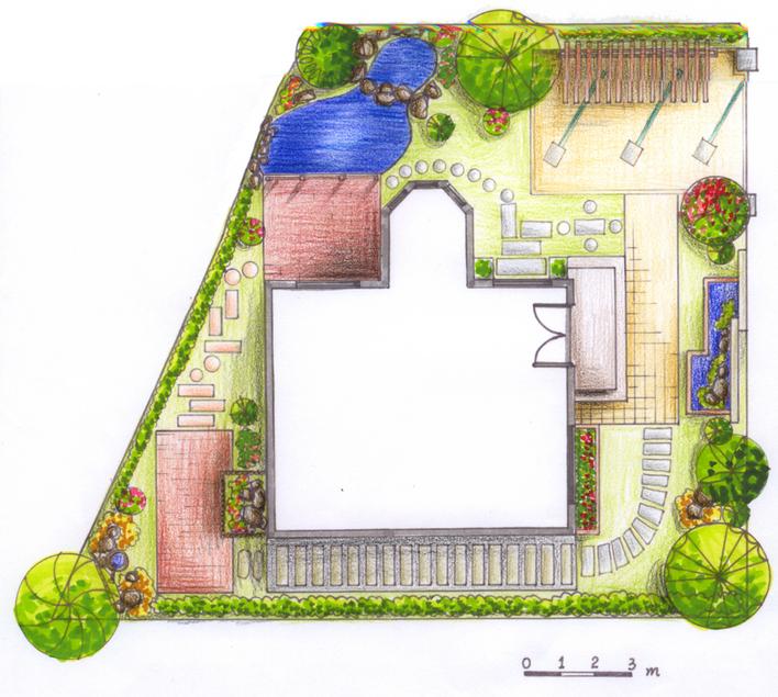 手绘山地别墅区平面图