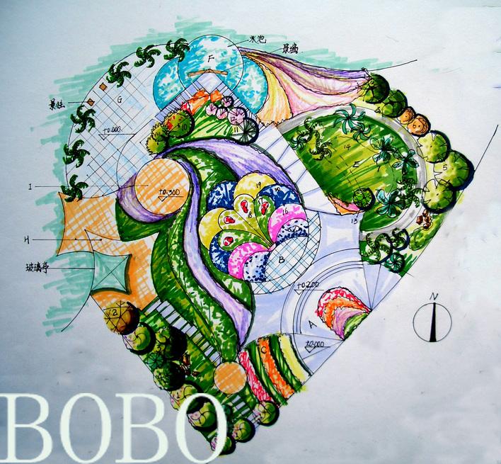 园林设计图  花海珠光
