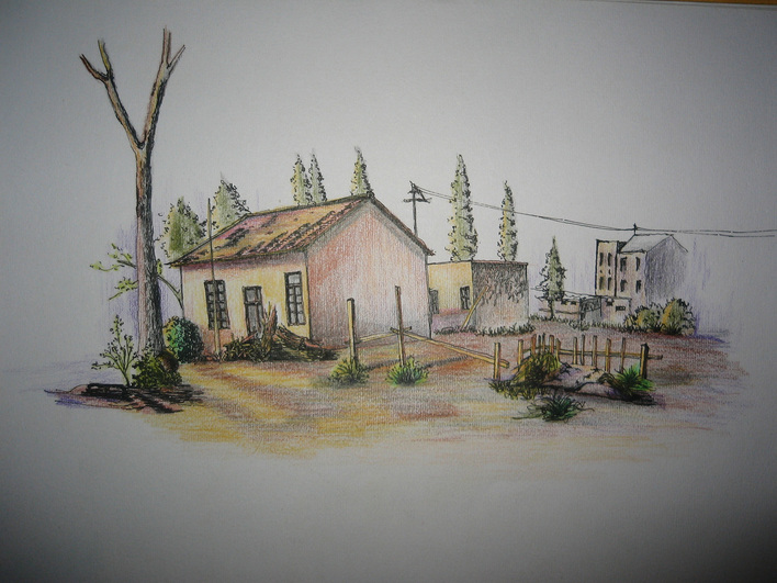彩铅手绘校园风景图