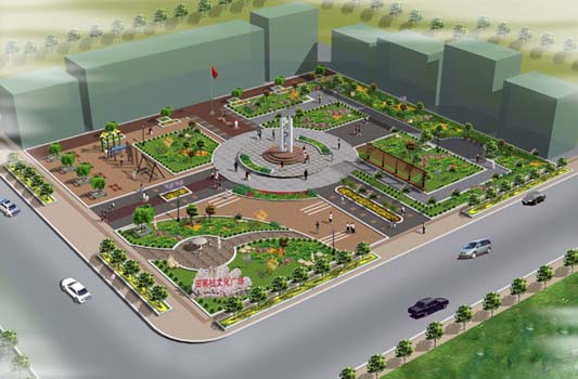 社會主義新農村文化廣場綠化效果圖1