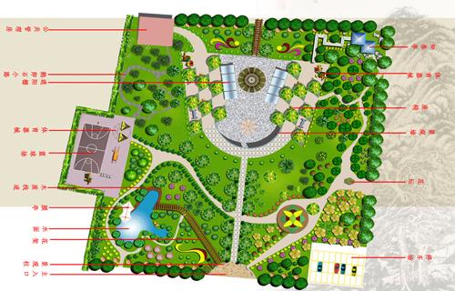 小游园景观设计平面图 游园平面设计图  所属分类:给排水图纸
