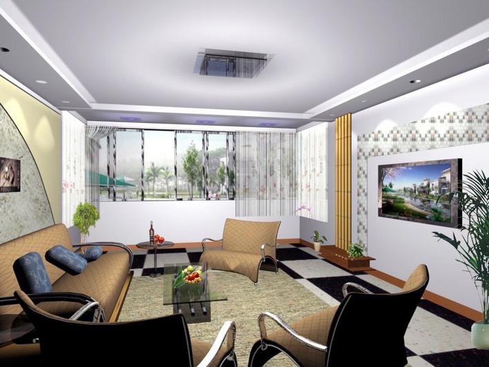 模型库  建筑单体模型  室内效果图   3d模型和效果图 博雅园客厅