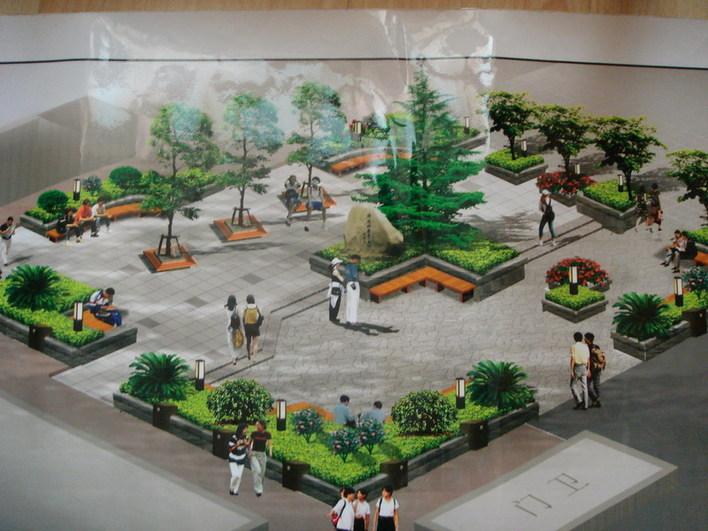 学校广场花坛平面手绘图手绘