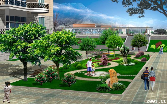 园林及建筑小区规划效果图制作风暴